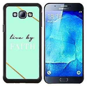 Samsung Galaxy A8 ( A8000 ) - Impreso colorido protector duro espalda Funda piel de Shell (Vivo en la fe del trullo Dios cristiano Cruz)