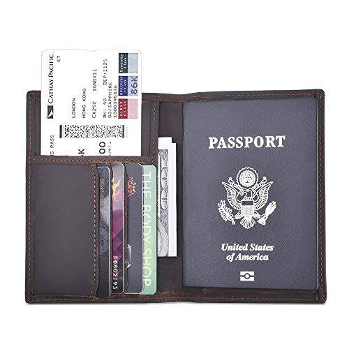 (Travel Passport Wallet Rfid Blocking - Leather Passport Holder Cover Card Case for Men and Women Multi-purpose Document Organizer Accessories)
