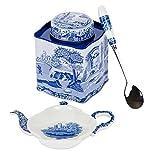 Spode Blue Italian 3 Piece Tea Set; Tea Caddy, Spoon Rest & Spoon
