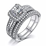 Caperci Sterling Silver Princess-Cut Cubic Zirconia Halo Solitaire Bridal Wedding Engagement Ring Sets