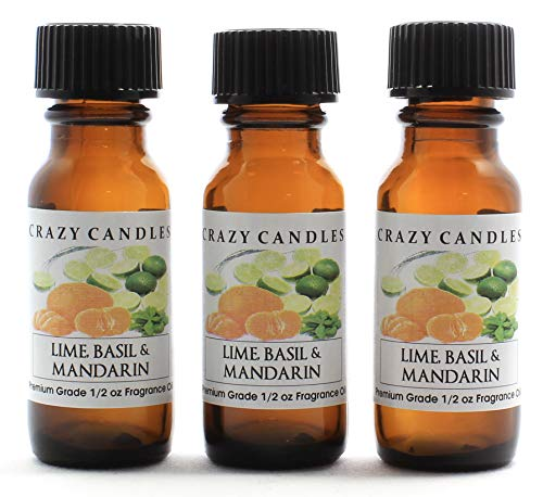 (Crazy Candles Lime &, Basil with Mandarin 3 Bottles 1/2 Fl Oz Each (15ml) Premium Grade Scented Fragrance Oil)