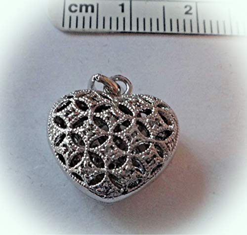Sterling Silver 17x16x8mm Cutout Heart with Clear Crystal Locket Charm Vintage Crafting Pendant Jewelry Making Supplies - DIY for Necklace Bracelet Accessories by CharmingSS