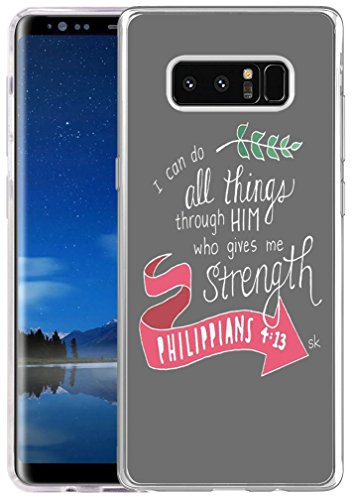 (Note 8 Case Bible Verse,Hungo Soft TPU Silicone Cover Compatible with Samsung Galaxy Note 8 Christian Sayings I Can Do All Things Through Christ Who Gives Me Strength Phillippians 4:13 Sk)