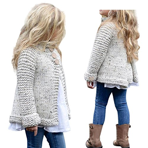 Raptop Toddler Baby Girls Cute Autumn Winter Button Knitted Sweater Cardigan Warm Thick Coat Clothes 3T(18-24Months), Beige by Raptop