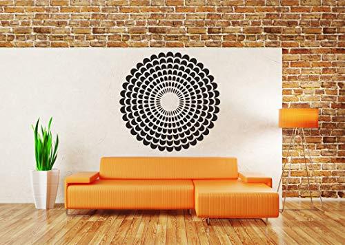 Vinyl Sticker Mandala Floral Ornament Geometry Symmetrical Pattern Kaleidoscope Circle Star Mural Decal Wall Art Decor ()