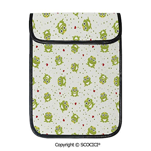 SCOCICI Protective Storage Carrying Sleeve Case - Cute Illustration of Frog Prince On Heart Dotted Retro Background Love Romance Theme Compatible with 12.9 Inch iPad Pro Tablet ()