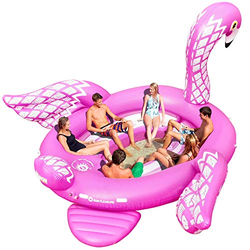 Sun Pleasure Party Bird Island Giant Flamingo Float - Fast Speed Pump Included - Flamingo with Pump and Carrying Bag - use in Lake, Ocean, River, Pool Floats for up to 6 People