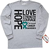 Inktastic Peritoneal Cancer Hope Love Strength Long Sleeve T-Shirt by HDD Medium Athletic Heather