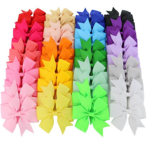 Mybigqueen Boutique Baby Girls Alligator Clips Grosgrain Ribbon 3 inch Pinwheel Hair Bows For Teens Kids Toddlers 20 Colors 40Piece -