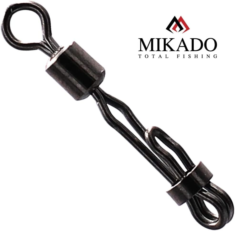 Mikado 10 Speed Lock Snap Swivel Wirbel Karpfenwirbel #8 schwarz