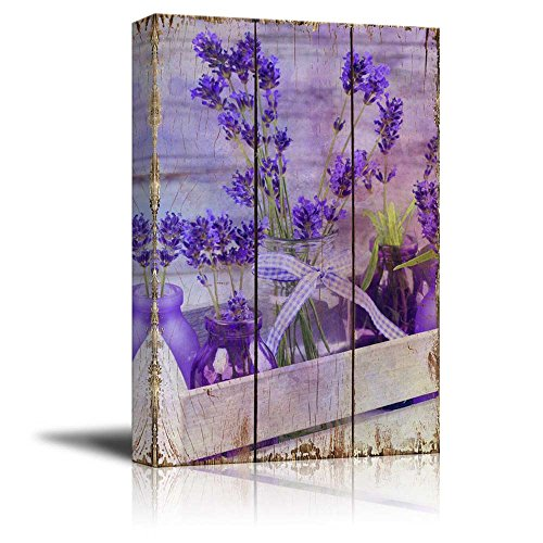 Purple Flowers on a Wooden Box with Jars as Vases Over Wood Panels Nature