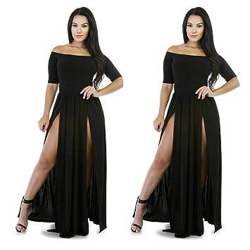 170032b49d18 Off Shoulder Dress for Teen Girls Women s One-Neck Short-Sleeved Split  Skirt Sexy