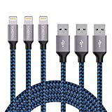 Lightning Cable, YOKERSU 3PACK 6Feet Extra Long Nylon Braided Charging Cable Cord Lightning to USB Cable Charger Compatible with iPhone 8/ 7/ 6s/ 6/ Plus/ 5se/ 5s/ 5c/ 5, iPad, iPod (Blue)