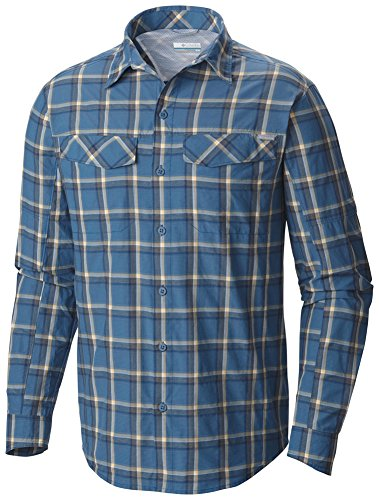 Blue Plaid L/s Shirt (Columbia Men's Silver Ridge Plaid Long Sleeve Shirt, Marine Blue Heather Plaid,)