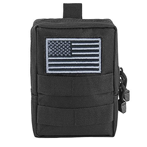 Molle Pouch - Tactical Compact Water-resistant EDC Pouch Black with US Flag Patch (One Pack) (Pen Velcro)