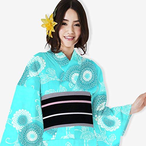 描写現代矢じりレディース 浴衣単品 なないろ 綿素材 はんなり かわいい 菊文様 青系