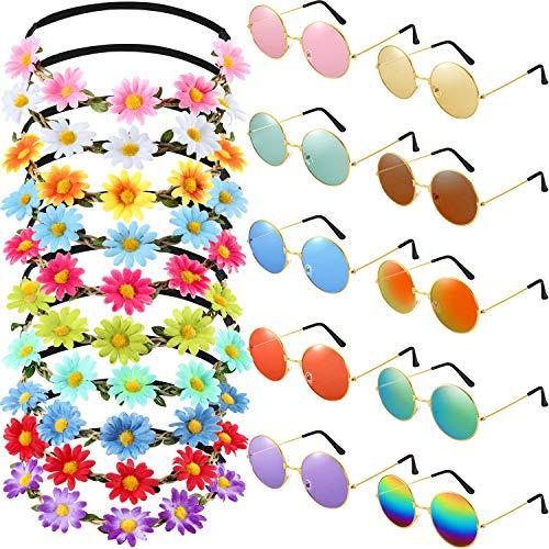 Hippy Theme - Bememo 20 Pieces Hippie Glasses Headband