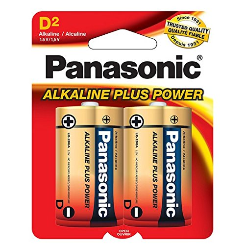 Panasonic Alkaline Plus Batteries, D Size, Pack of 2 Count Batteries