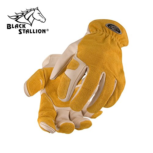 BLACK STALLION Split Cowhide Reinforced Kevlar Stitched Driver's Gloves 97SW ()