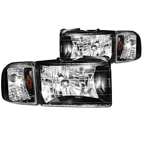 e Ram Crystal Black with Corner Headlight Assembly - (Sold in Pairs) (Anzo Usa Headlight Crystal)