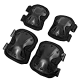 Tactical Elbow and Knee Pads Set, Non-Slip Waterproof Lightweight Protective Pads with Cushion for Cycling/Climbing/Airsoft/Paintball/Skiing/Snowboarding/Motorcycling (Fit Kids/Youth/Adults, Black)