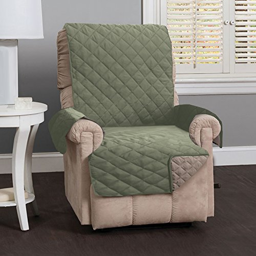 Deluxe Reversible Stain Resistant Furniture Protector in Solid Colors. Includes Adjustable Elastic Straps. Charleston Collection By Great Bay Home Brand. (Recliner, Tea Green) (Strap Furniture Collections)