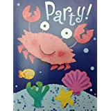 (16) Smiling Crab Under the Sea Party Fill-In Invitations...