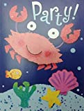 (16) Smiling Crab Under the Sea Party Fill-In Invitations Cards