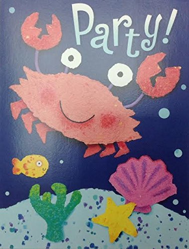 (16) Smiling Crab Under the Sea Party Fill-In Invitations Cards by Tender Thoughts (Image #2)