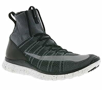 Nike Free Flyknit Mercurial Mens Hi Top Running Trainers 805554 Sneakers Shoes (UK 9.5 US 10.5 EU 44.5, Dark Grey Silver Black Summit 004)
