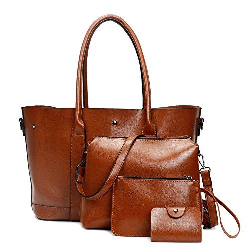 ELIMPAUL Designer Women Top Handle Leather Satchel Handbags Shoulder Bag Messenger Tote Bag (Used Designer Handbags)