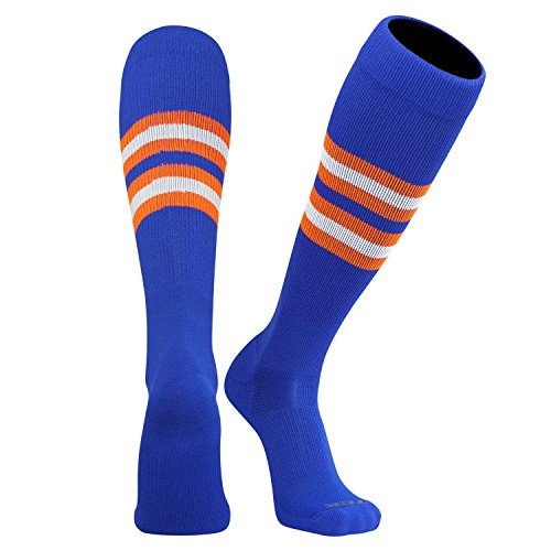 TCK Elite Baseball Football Long Striped Socks (I) Royal Blue, Orange, White - Socks Football Striped