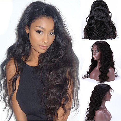 S-noilite 100% Unprocessed Brazilian Virgin Human Hair Wigs Glueless Lace Front Long Body Wave Natural Wavy Curly with Baby Hair Pre Plucked for Black Women Dress (22inch 1B-Off Black)