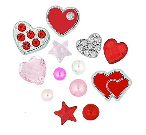 Final Touch Gifts Valentines Day Floating Locket Charms and Birthstones (Origami Owl Valentine Charms)
