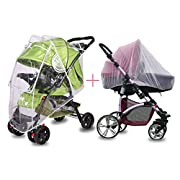 NinkyNonk Universal Size Baby Stroller Rain Cover + Mosquito Net Waterproof Stroller Weather Shield Sunshade Wind Dust Shield Cover for Strollers