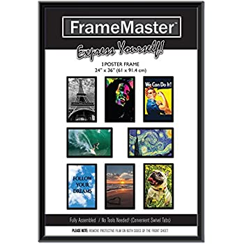 framemaster 24x36 poster frame 1 pack pre assembled with sturdy mdf backer board black