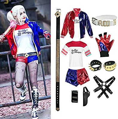 Adult Harley Quinn Ladies Costume Suicide Squad Fancy Dress Halloween Cosplay