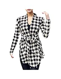 Lowpricenice(TM) Women's Fashion Korean Casual Houndstooth Pattern Thin Long Sleeve Cardigan Coat Jacket Outwear