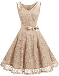 Women Floral Lace Bridesmaid Party Dress Short Prom Dress...