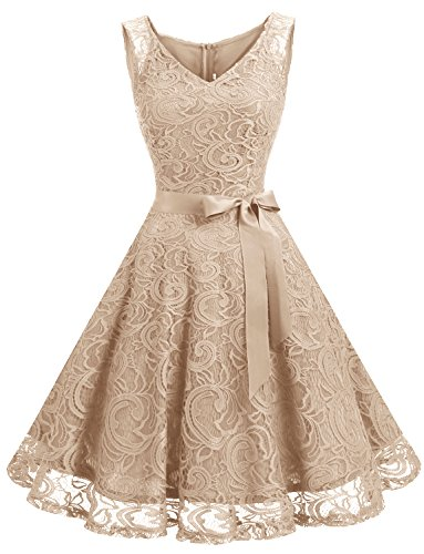 (Dressystar Women Floral Lace Bridesmaid Party Dress Short Prom Dress V Neck M Champagne)