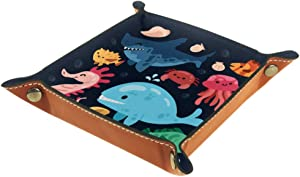 IMONKA Shark Octopus Crab Whale Seahorse Fishes Leather Valet Tray Bedside Desktop Catchall Storage Organiser Box for Jewelry Key Wallet Coin Candy