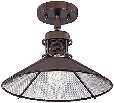 """Glasgow Industrial 14"""" Wide Oil-Rubbed Bronze Ceiling Light"""