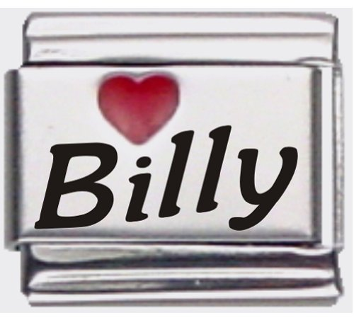 Billy Red Heart Laser Name Italian Charm Link