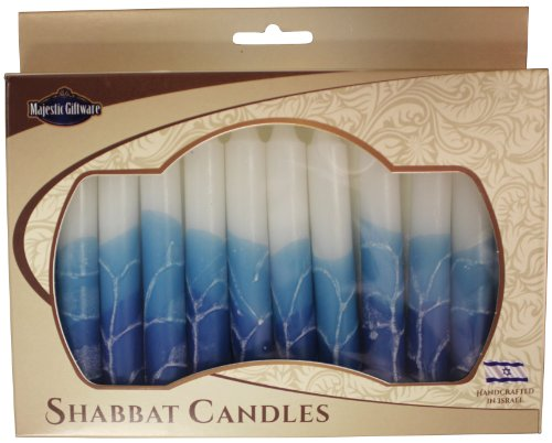 Majestic Giftware SC-SHWT-T Safed Shabbat Candle, 5-Inch, White Turquoise, 12-Pack (12 Safed Shabbat Candles)