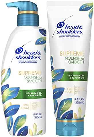 Head & Shoulders Supreme, Scalp Care and Dandruff Treatment Shampoo and Conditioner Bundle, with Argan Oil and Jojoba, Nourish and Smooth Hair and Scalp, 11.8 Fl Oz, Jojoba Shampoo and Conditioner
