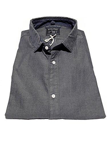 In Woolrich Grey Fit 100 3715 Vintage Camicia Cotone Dobby Uomo Grigio Indigo Aaron blue Rigato Regular blu Wocam0555 rBU1wxBq0