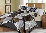 no!no! Printed Animal Designs Bedspread Coverlet Quilt Set with Pillow Shams Animal 3# Size Queen