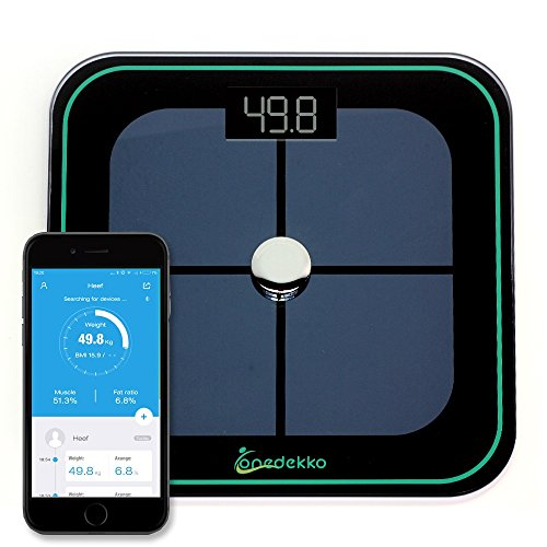 ONEDEKKO Bluetooth Smart Scale - Body Composition Monitor- 8 Measurements -Body Weight, Body Fat, Calorie, BMI, Muscle Mass, Hydration, Bone, Visceral Fat up to 8 Users- Black