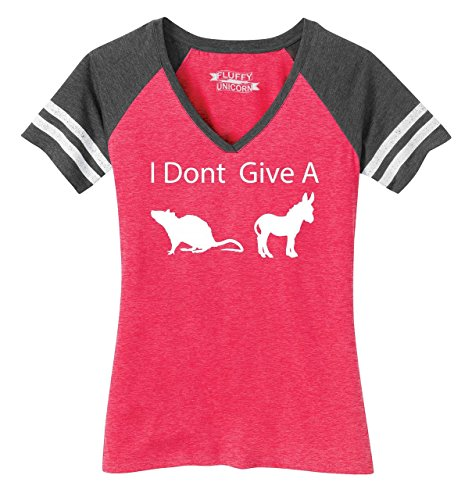 Ladies Game V-Neck Tee I Don't Give A Rat's Ass Funny Shirt Heathered Watermelon/Heathered Charcoal ()
