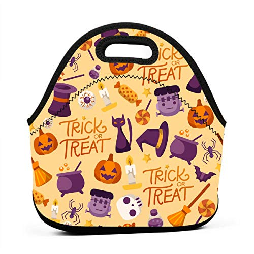 Kids Lunch Box-Happy Halloween Trick Or Treat Lunch Bags for Women-Mini Soft Lunch Tote Bag-Lightweight, Reusable Lunchbox for Work and School ()